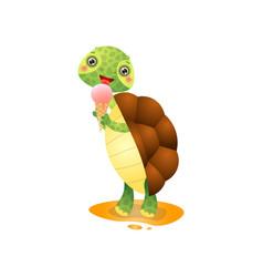 cute kawai turtle eating ice-cream isolated on vector image