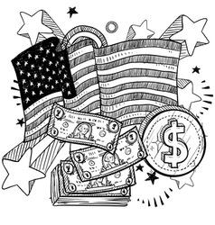 Doodle americana money bw vector