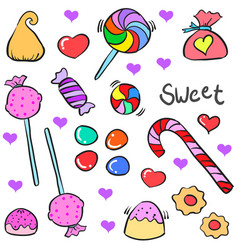 Doodle of candy various design style vector