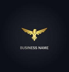 eagle bird wing gold logo vector image