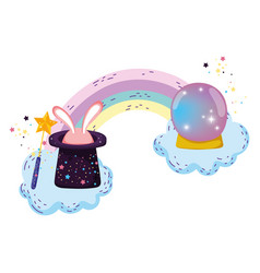 Fairytale crystal ball with hat and ears rabbit vector