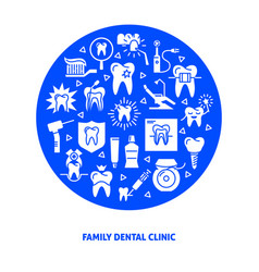 Family dental clinic round concept banner in flat vector
