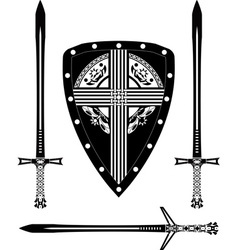 Fantasy european shield and swords vector
