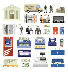 flat bank set vector image
