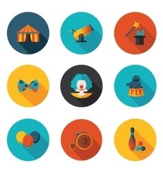 Flat icons set circus vector
