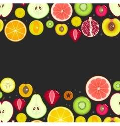 Fruit Slices Frameon a Dark Background vector image