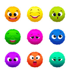 Funny colored furry emoticons cartoon characters vector
