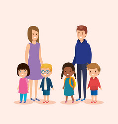 Girl and boy teens with children and casual vector