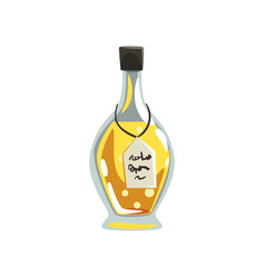 glass bottle of aromatic oil yellow liquid for vector image