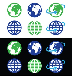 Globe earth icons in color vector