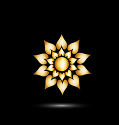 gold bright flower icon vector image