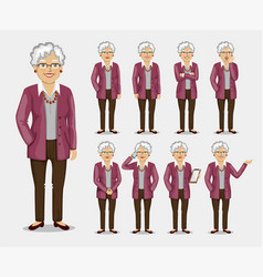 Grandmother in business clothes vector