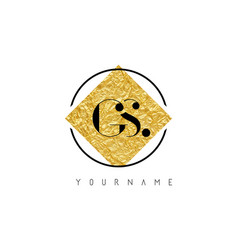 gs letter logo with golden foil texture vector image