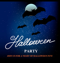 Halloween party banner background with full moon vector