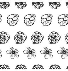 Hand drawn garden flower doodle seamless pattern vector
