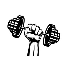 human hand with barbell vector image