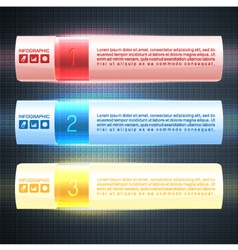 Illuminated infographic options banners vector