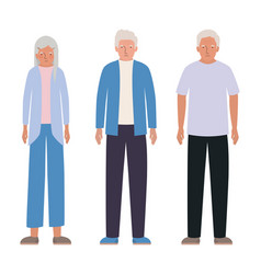 Isolated grandfathers and grandmother vector
