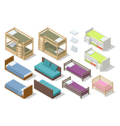 isometric set different types beds for vector image
