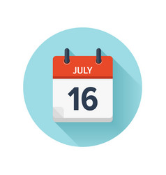 July 16 flat daily calendar icon date and vector