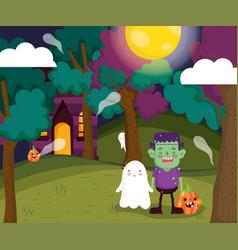 Kids costume trick or treat - happy halloween vector