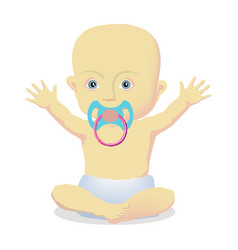 little bawith a pacifier sitting vector image