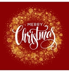 Merry Christmas greeting card lettering design red vector