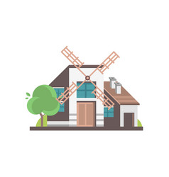 modern windmill building ecological agricultural vector image