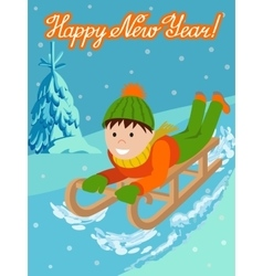 New year card cute child on snow sledding vector image vector image