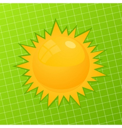 orange sun on a green background a vector illustra vector image