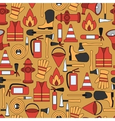 Pattern seamless of line firefighting equipment vector image