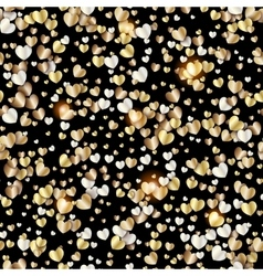 Pattern with gold hearts on black vector