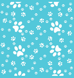 paws turquoise pattern paw background vector image