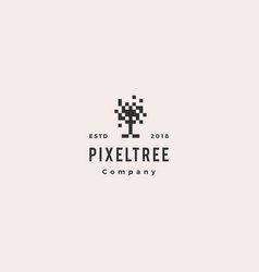 pixel tree digital logo hipster retro vintage icon vector image