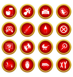 Pregnancy symbols icon red circle set vector