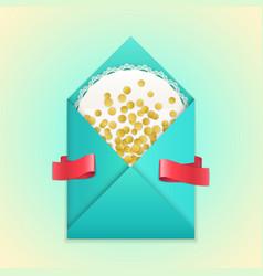 realistic envelope gold confetti lace ribbon vector image