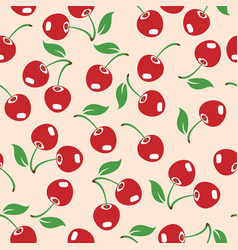 red cherry seamless pattern vector image