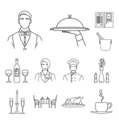 restaurant and bar outline icons in set collection vector image