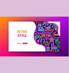 retro style neon landing page vector image