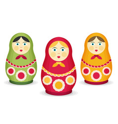 Russian dolls matrioshka flat style vector