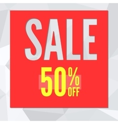 Sale banner on low poly background with typography vector image