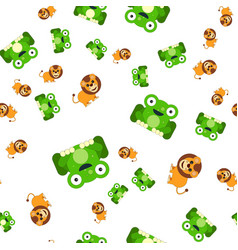 seamless pattern of frogs and a lion vector image