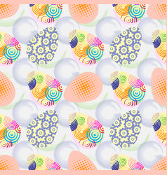 seamless pattern with easter eggs happy easter vector image