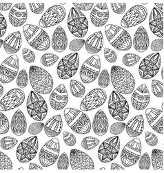 seamless texture with festive doodle eggs with vector image