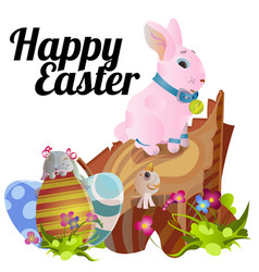 set easter chocolate egg hunt bunny basket on vector image