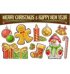 set for christmas and new year vector image