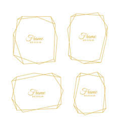 set of geometric golden line minimal frames vector image