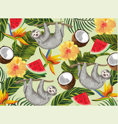 Sloth with tropical coconut and exotic flowers vector