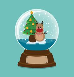 snowdeer inside a crystal ball vector image