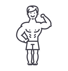 strong man bodybuilder muscles line icon vector image